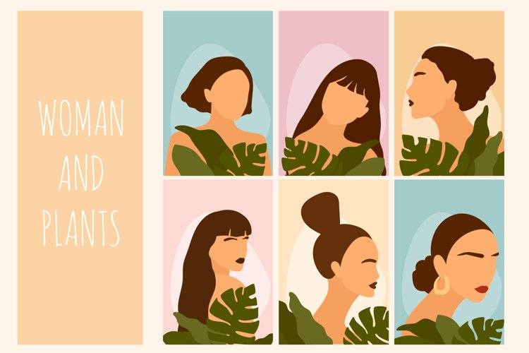Woman And Plant. Abstract Minimalist Poster Collection.