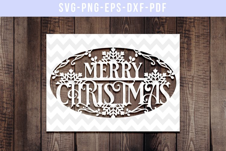Merry Christmas Papercut Template, Xmas Card Cover, SVG, DXF example image 1