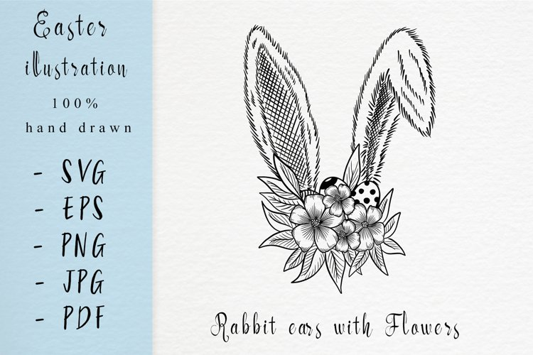 easter illustration /Rabbit ears with flowers