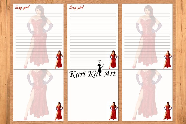 Pack printable journal page Sexy girl red, stationery example image 1