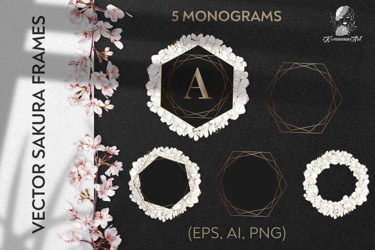 Flowers vintage vector monograms bundle - sakura
