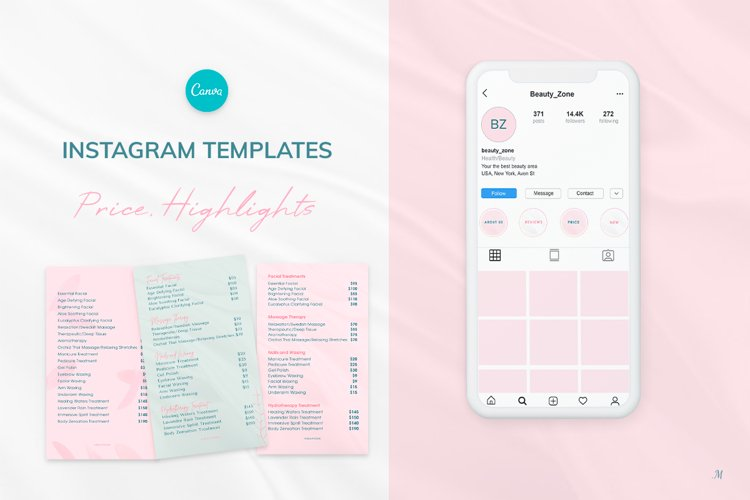 Editable Elegant Instagram Highlights and Price templates example image 1