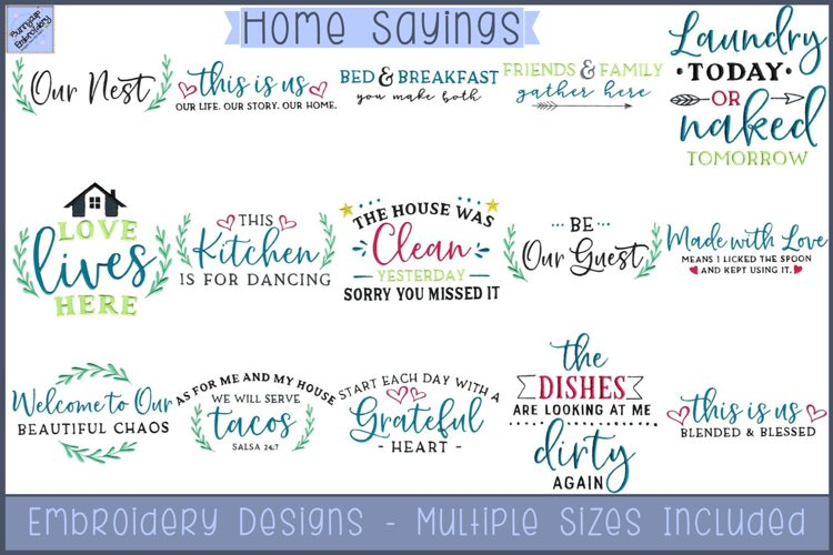 Home Sayings Embroidery Designs example image 1