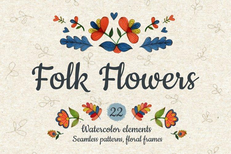 Watercolor folk flowers. example image 1