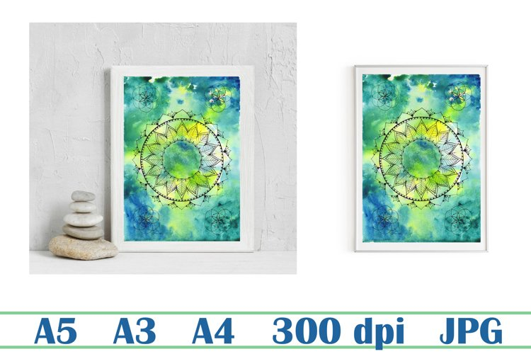 Mandala and flower of life poster, abstract watercolor