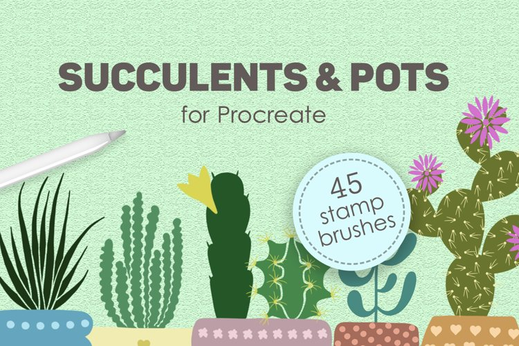 Succulents and pots stamp brushes example image 1