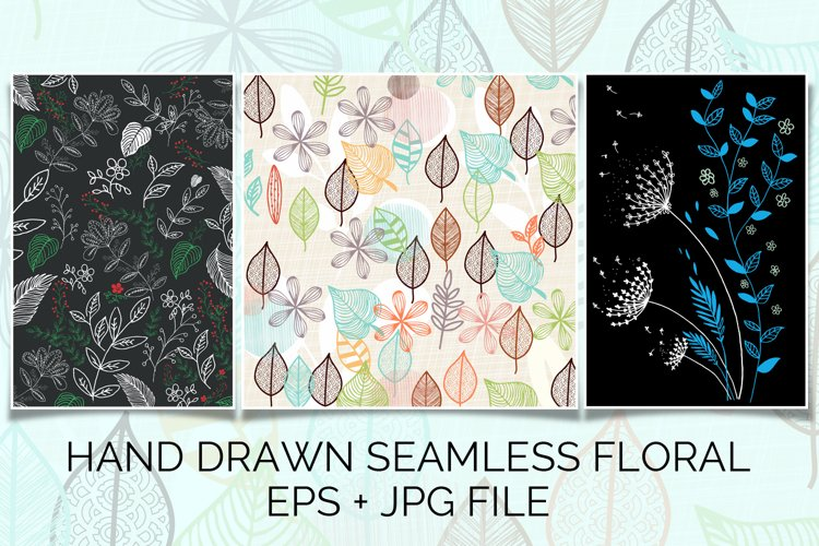 hand drawn seamless floral pattern background