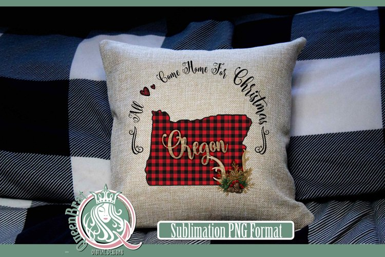 Sublimation | Oregon Plaid Christmas State example image 1