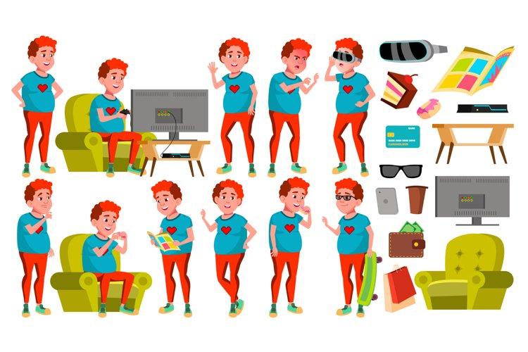Teen Boy Poses Set Vector. Red Head. Fat Gamer. Fun example image 1