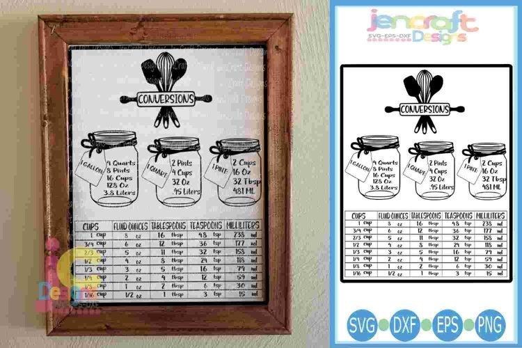 Conversion Chart Cheat sheet Kitchen SVG - Measurements