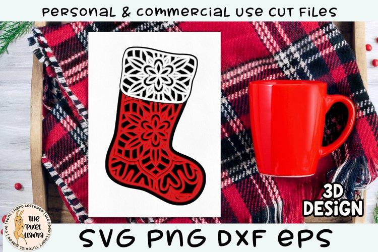 3D Layered Christmas Stocking SVG