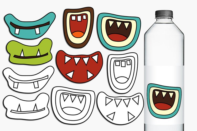 Retro Monster Grins clip art and digital stamps example image 1
