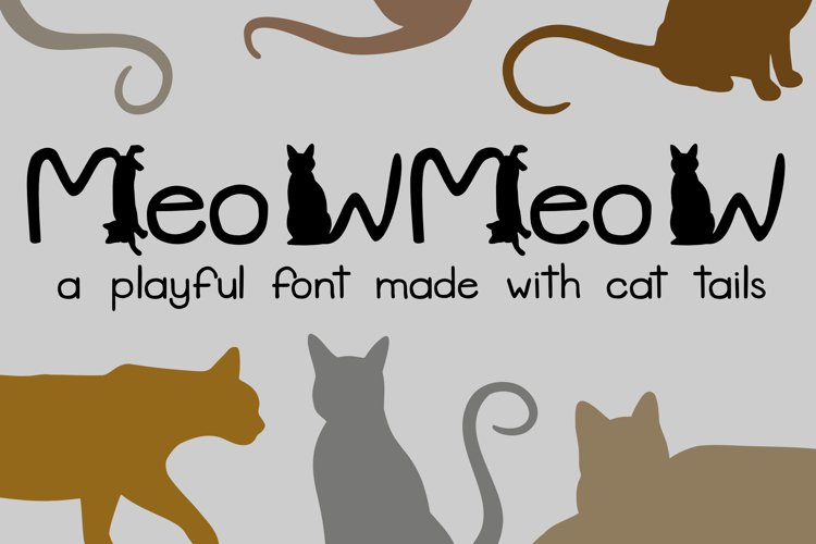 Meow Meow - A Playful Font Made with Cat Tails example image 1
