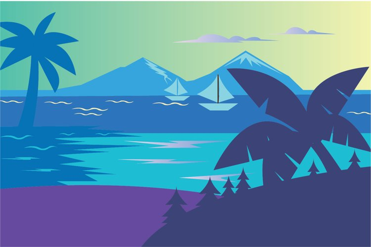 Lake and Mountain landscape vector illustration example image 1