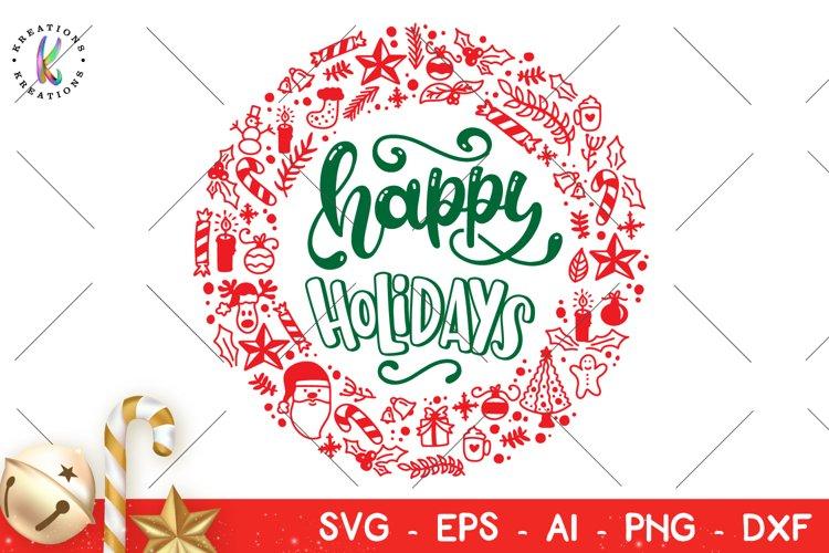 Happy Holidays svg Christmas Elements circular wreath svg example image 1