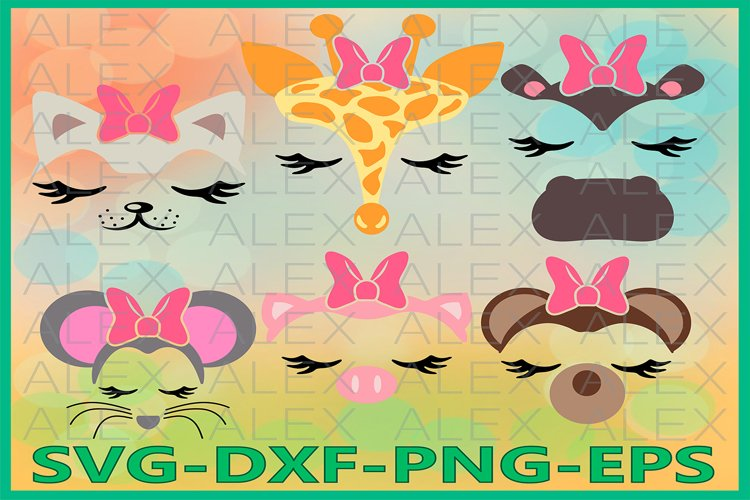 Animal Face Svg, Animals with a bow, Eyelashes Svg