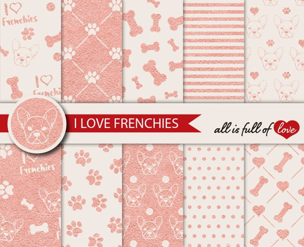 Rose Gold Graphics I Love Frenchies Digital Paper French Bulldog Background Patterns in Rose Gold and Beige example image 1