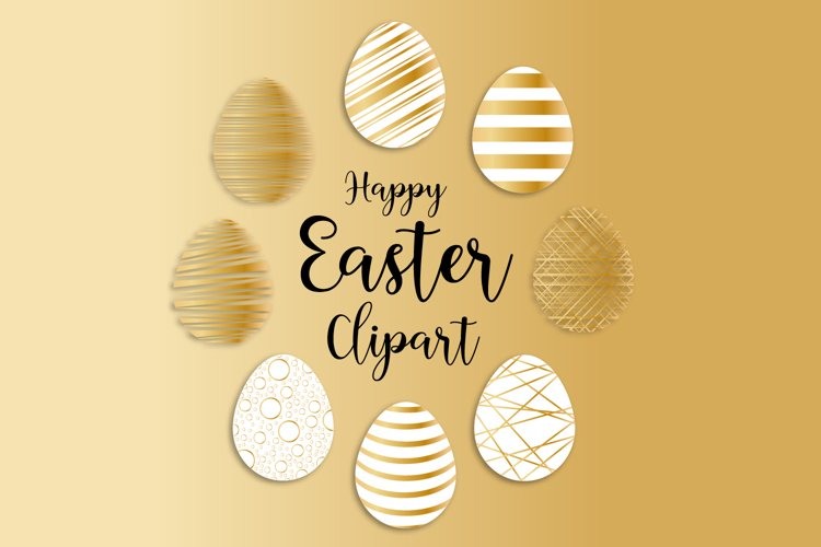 Gold Easter Eggs clipart, Easter Eggs SVG, Easter eggs example image 1