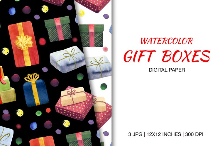 Digital paper watercolor illustration of colorful gift boxes