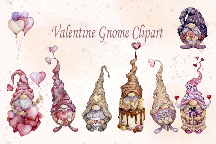Watercolor Valentine Gnome Clipart png, cute romantic pink example image 1