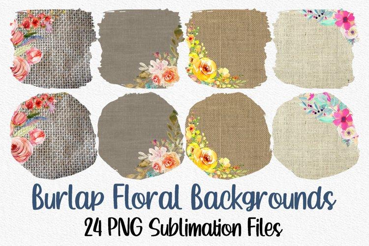 Floral Burlap Sublimation Bundle | Sublimation Backgrounds