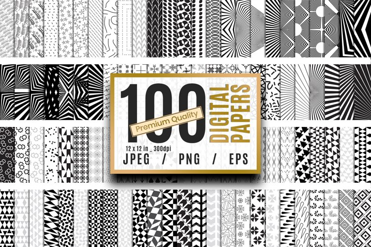 100 Premium Quality Black and White Digital Papers Vol.02