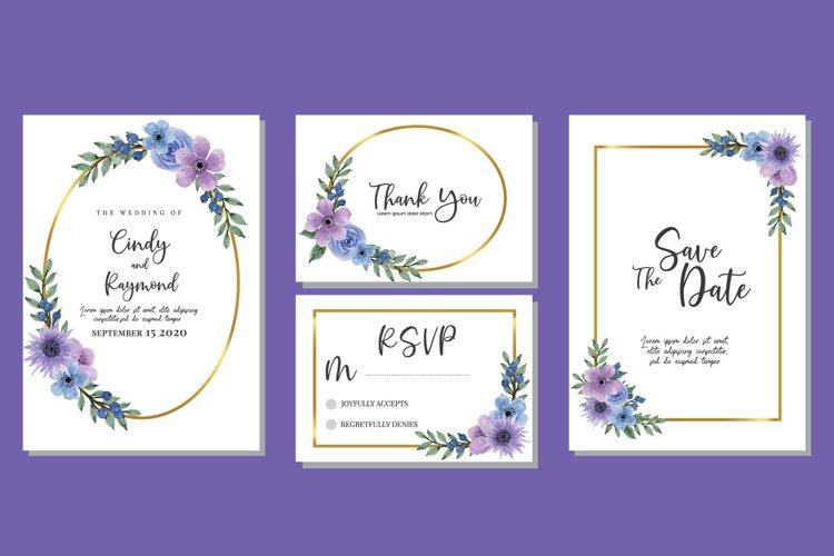 Flower Bouquet Watercolor Wedding Invitations SVG Vector example image 1