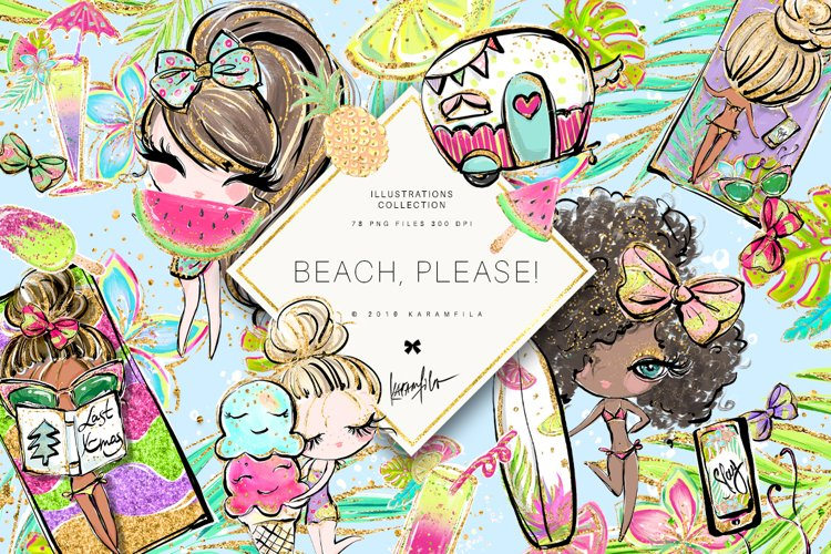 Beach Camper Clipart example image 1
