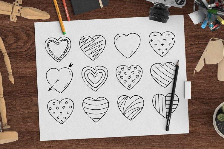 Hand drawn hearts + seamless pattern example image 1