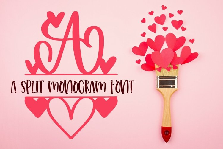 Web Font A Heart Split Monogram Font example image 1