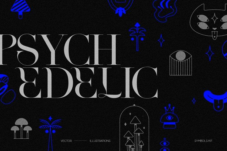 Psychedelic Symbols, Textures. Surreal Logos, Mushroom