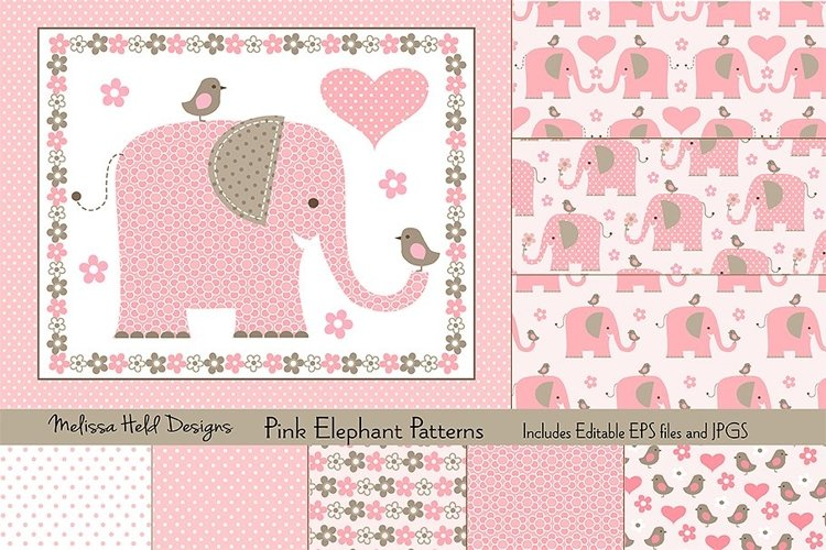 Pink Elephant Patterns example image 1