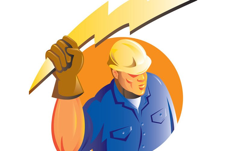 Construction worker electrician lightning bolt example image 1