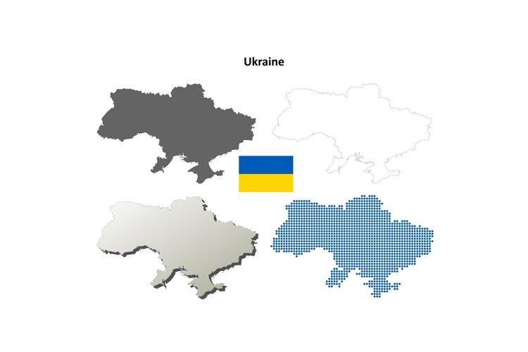 Ukraine outline map set example image 1
