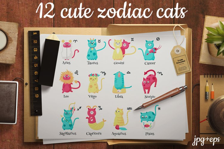 Cute zodiac cats posters and stickers for kids