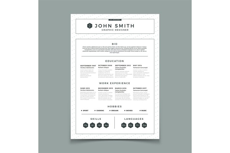 CV resume. Business web and print design vector template wit example image 1