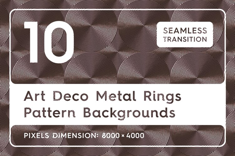 10 Art Deco Vintage Rings Pattern Backgrounds example image 1