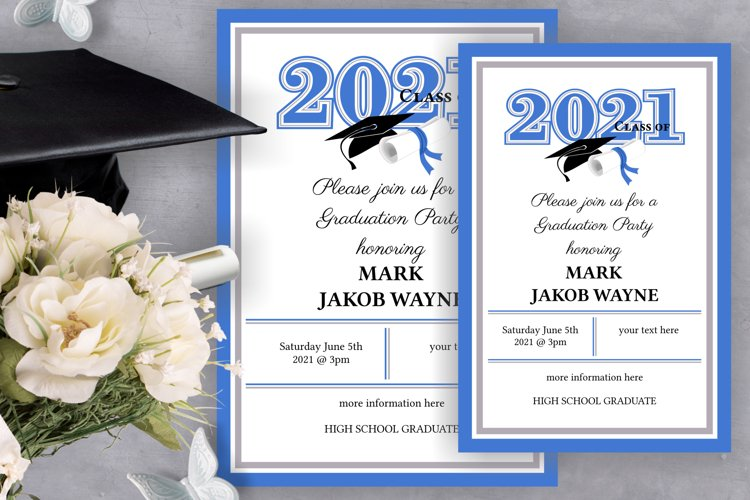 Invitation Template editable text - BLUE - Graduation 2021