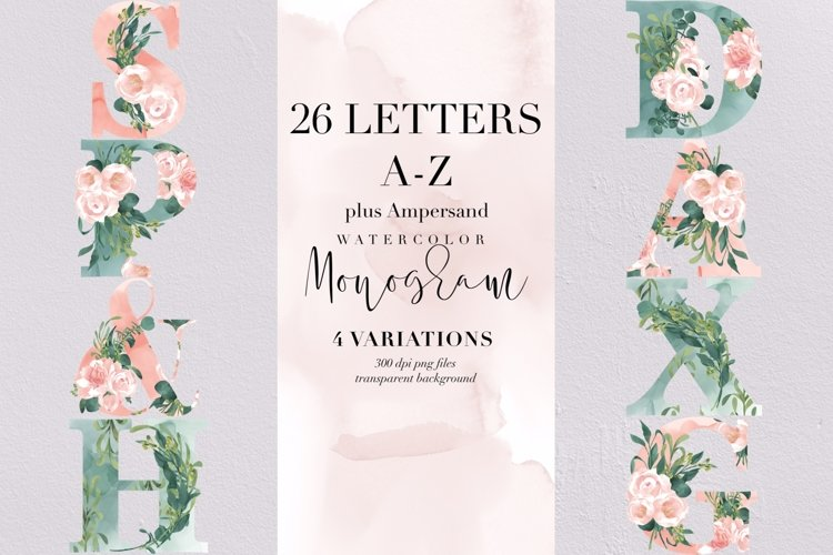Bundle of 26 letters and Ampersand watercolor monogram, PNG