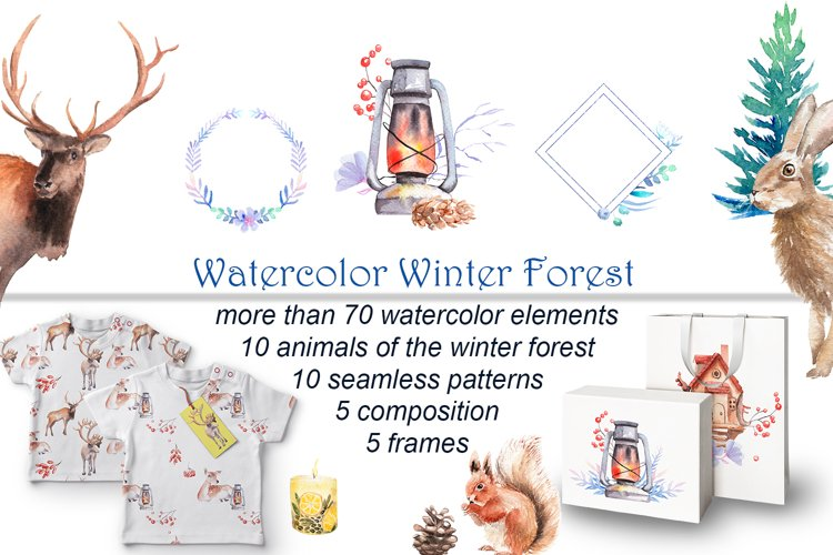 Watercolor Winter Forest example image 1