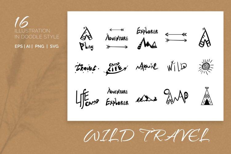 Wild. Travel. 16 Doodle style illustration. example image 1