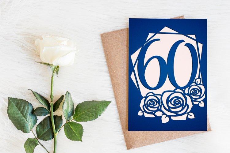 60th birthday card template, Birthday invitation svg