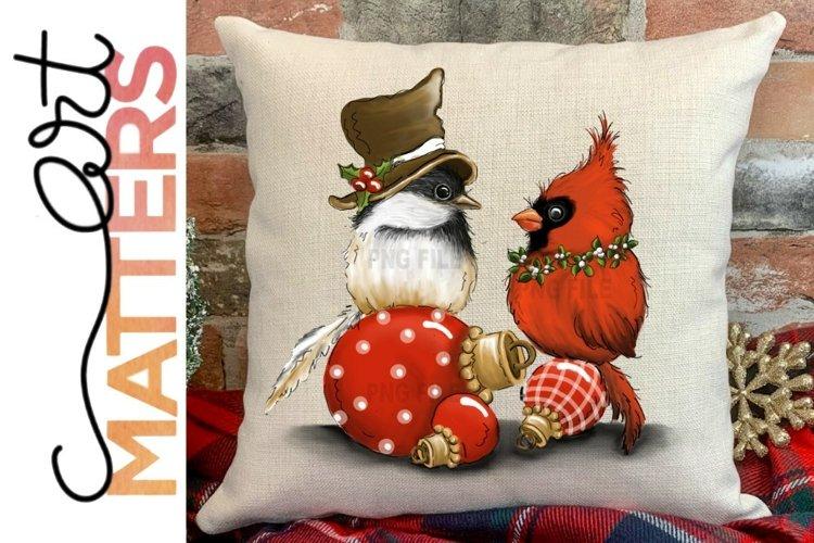 Chickadee Cardinal Ornament - 300 DPI example image 1