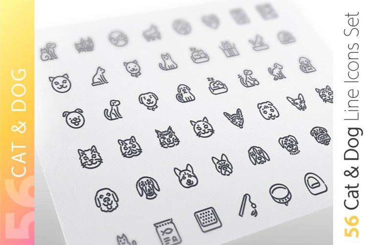Cat & Dog Line Icons Set example image 1