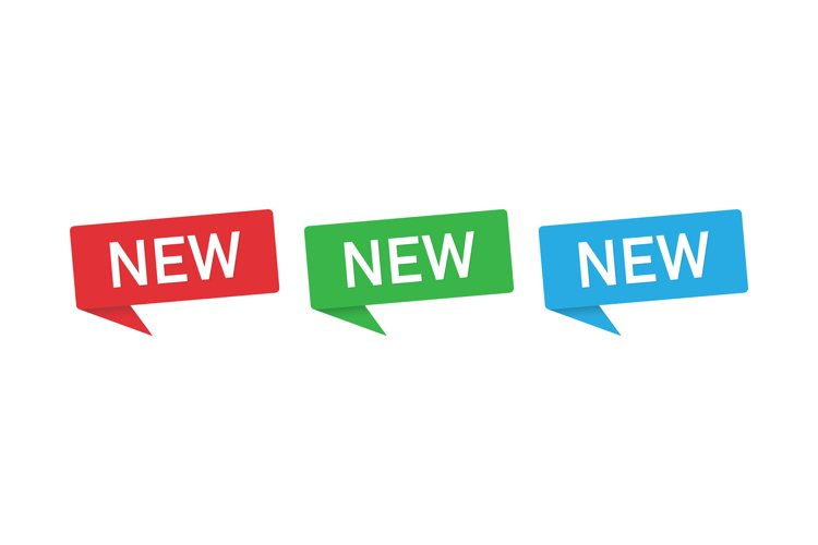 Sign New. New banners speech bubble set. New tags example image 1