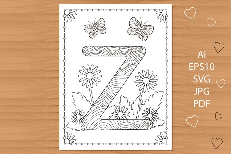Letter Z. Flowers. Coloring page. example image 1