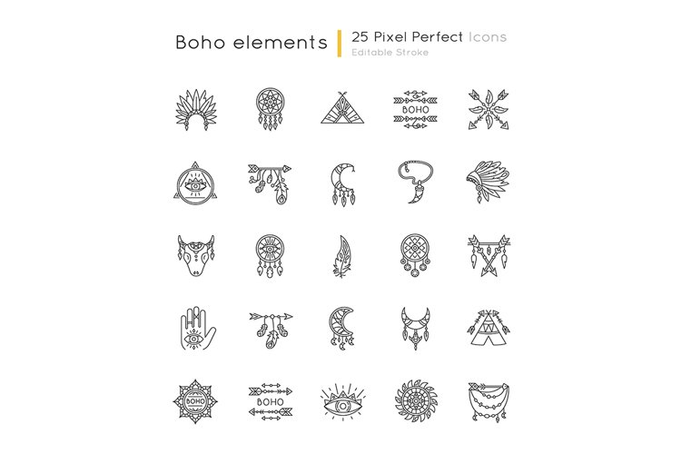 Boho style pixel perfect linear icons set