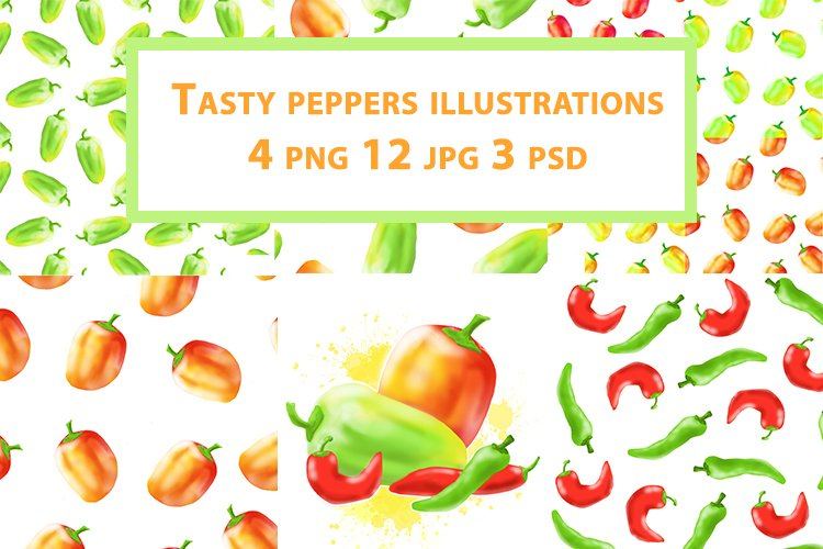 Tasty peppers illustrations and patterns