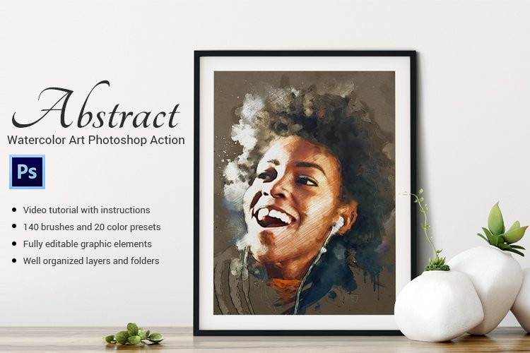 Abstract-Watercolor Art Photoshop Action example image 1