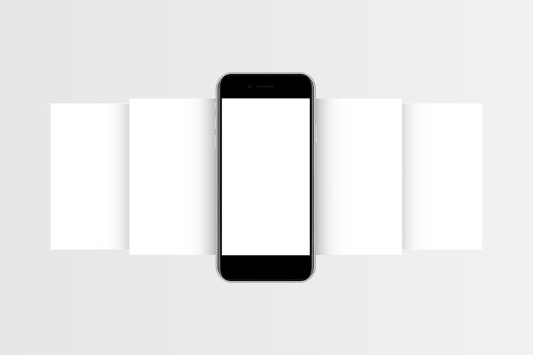 Phone mockup with blank app screens example image 1